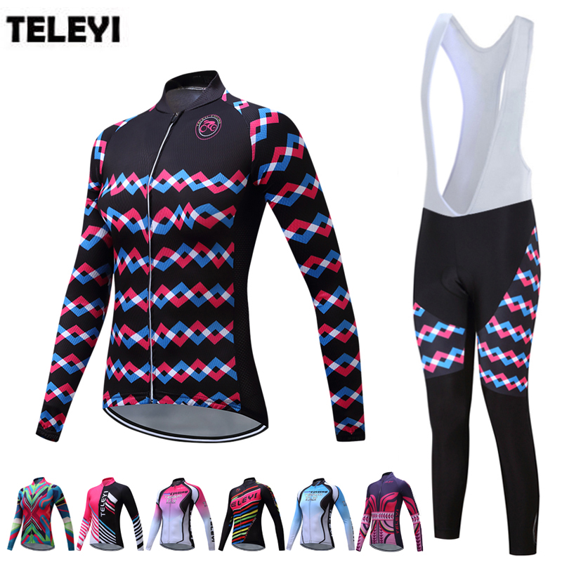 TELEYI Team Women's Pro Cycling Long Sleeve Jersey Bib Pants Ropa Ciclismo Set Girls Bike Bicycle Sportswear Clothing Suit S-4XL