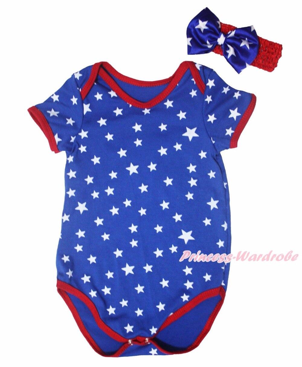 4th July America Heart Born In USA RWB Neckerchief Tie Patriotic Star Royal Blue Baby One Piece Girls Bodysuit Jumpsuit NB-18M