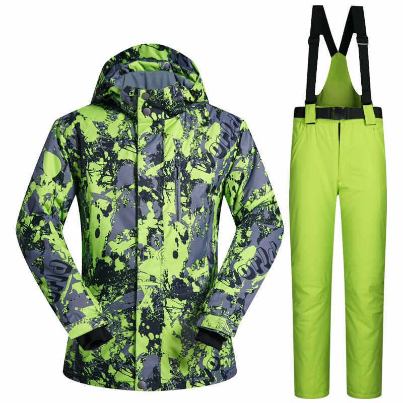 2018 MUTUSNOW Для мужчин лыжный костюм Лыжный спорт куртка брюки  ветрозащитные Водонепроницаемый уличная спортивная одежда сноуборд d29f9fa0b2c