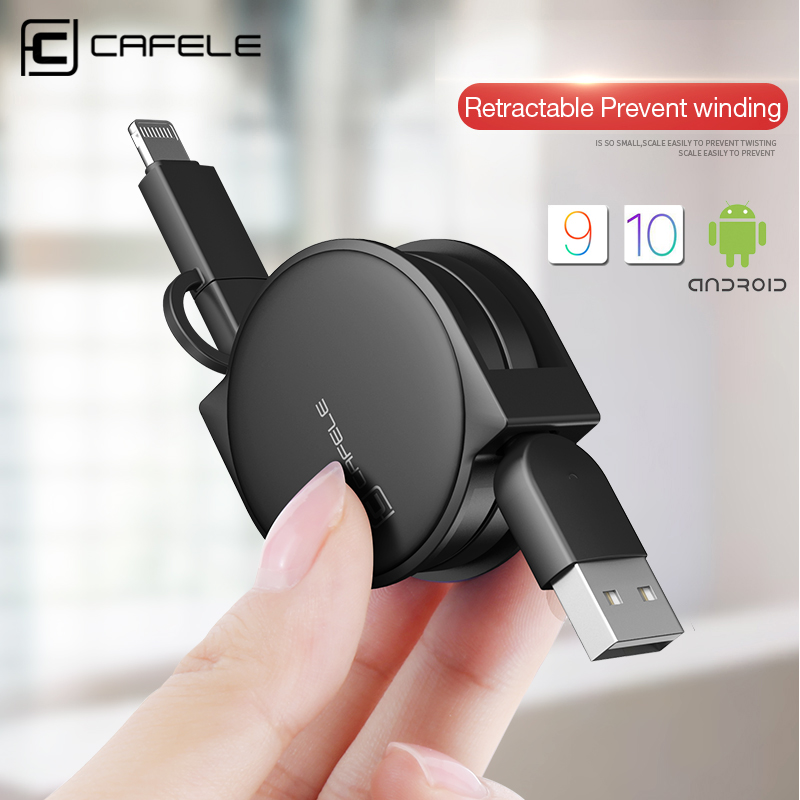 CAFELE NEW 100cm 2 in 1 retractable USB fast charging Cable For iPhone 7 5s 6 6 plus and micro android for Samsung xiaomi
