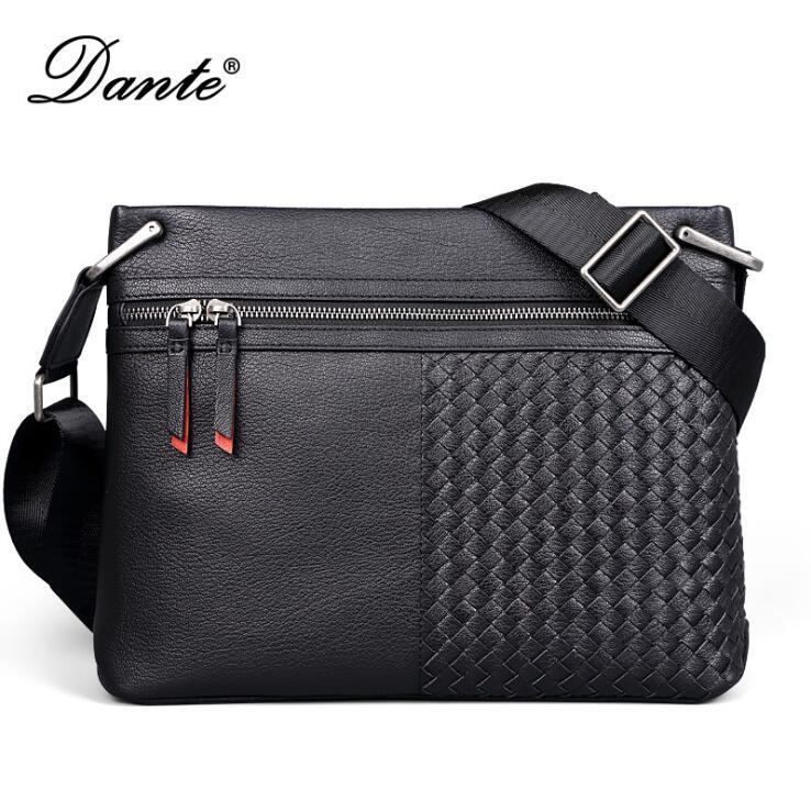 DANTE Genuine leather Crossbody Bag Sheepskin woven single shoulder bag Business man