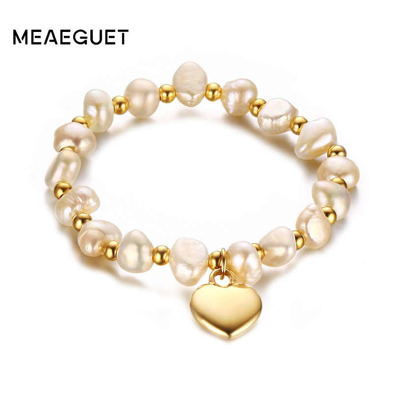 Heart Charm Freshwater Pearls Bracelet Women Jewelry Gold Color