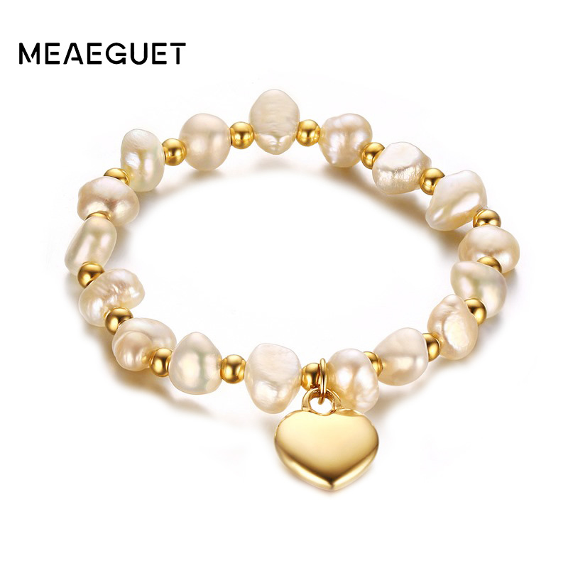Meaeguet Cute Heart Charm Freshwater Pearls Bracelet For Women High Polished Stainless Steel Beaded Bracelet Band