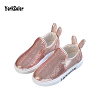 Sequins Child Casual Shoes Kids Flat Rabbit Ear Sneakers Toddler Baby Girl Boy Fashin Canvas Shoe