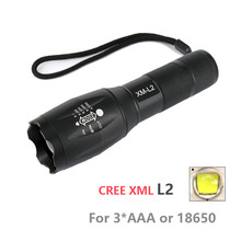 Professional CREE XML- L2 Flashlight 6000lm Adjustable Zoomable Lamp Light LED Tactical Torch Lantern Rechargeable 18650 or AAA