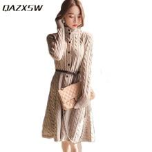 QAZXSW New Women Autumn Winter Knitted Sweater Dress Slim Long Cardigan  Belt Turtleneck Thick Pullover Vestido Party Dress HB366 588d95949e36