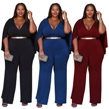 The latest hot fashion personality Bohemian style bat sleeves high waist casual loose wide leg large size fat MM female jumpsuit