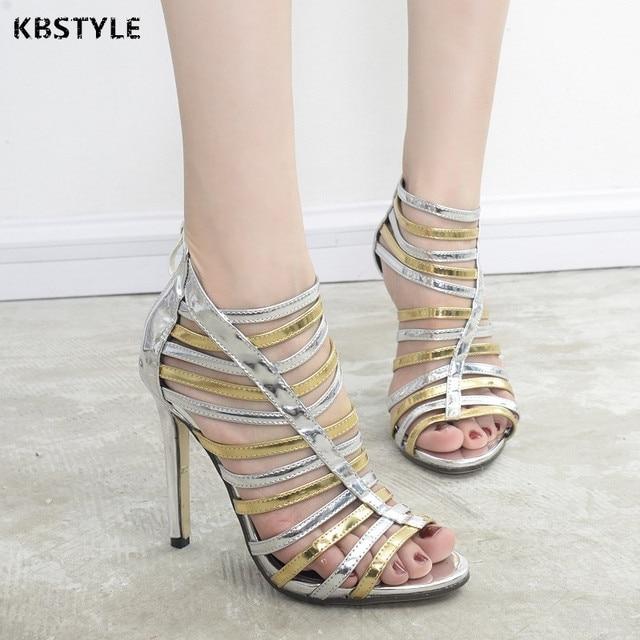 2c1f680834075c 2017 New Roman sandals Women Pumps Gold Silver high heels Booties Ladies  Sexy Hollow Cross zipper Nightclubs