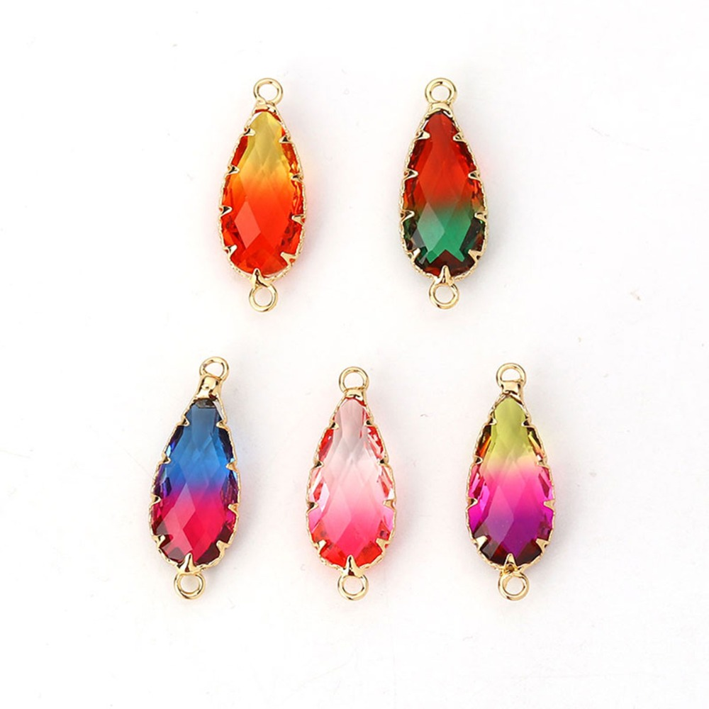 DoreenBeads Copper & Glass Connectors Drop Gold Fuchsia Colorful Faceted DIY Charm 29mm X11mm(1 1/8