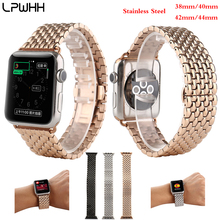LPWHH Stainless Steel Strap For Apple Watch Accessories For Iwatch Band 38mm 40mm 44mm 42mm Silver Black Rose Gold Watchbands stainless steel watchbands for apple watch band strap link silver rose gold black metal bracelet 42mm 38mm iwatch accessories