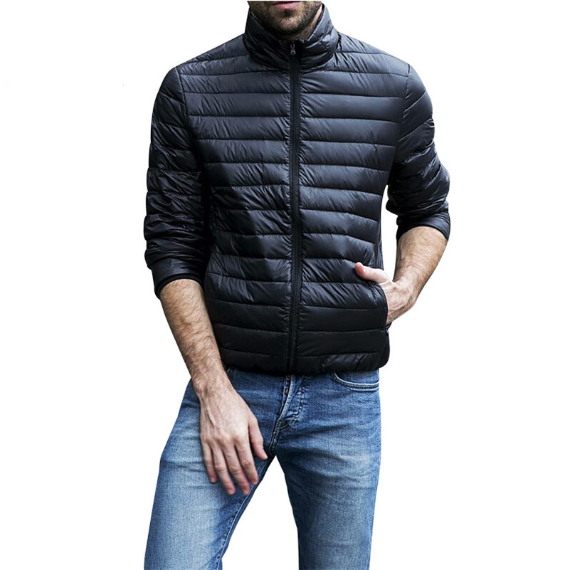 Autumn Winter Jacket Men 2019 New Couples Thin   Coats   90% Duck   Down   Ultra-light Slim Stand-Collar Cotton-Padded Solid Parkas X353