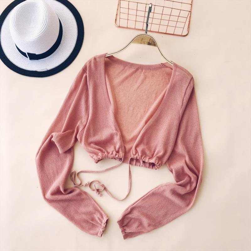 2018 Summer Women Slim Thin High-waist Long-sleeved Thin Knitted Shirt Summer Sun Protection Lace-Up Cardigan