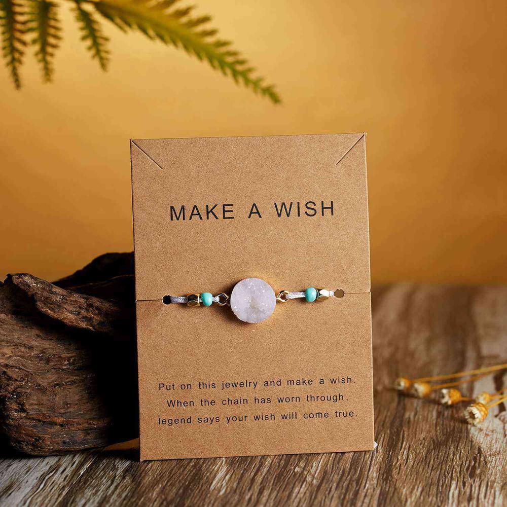 Натуральный камень Новая 7 цветная подвеска тканый браслет с картой Загадай желание регулируемый браслет из веревки для женщин очаровательные подарочные украшения - Окраска металла: 5