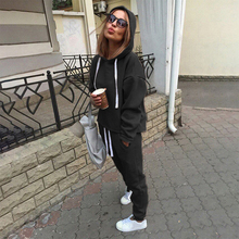 2pcs Sets Casual Hooded Tops Sweatshirt+Solid Long Pants Suits