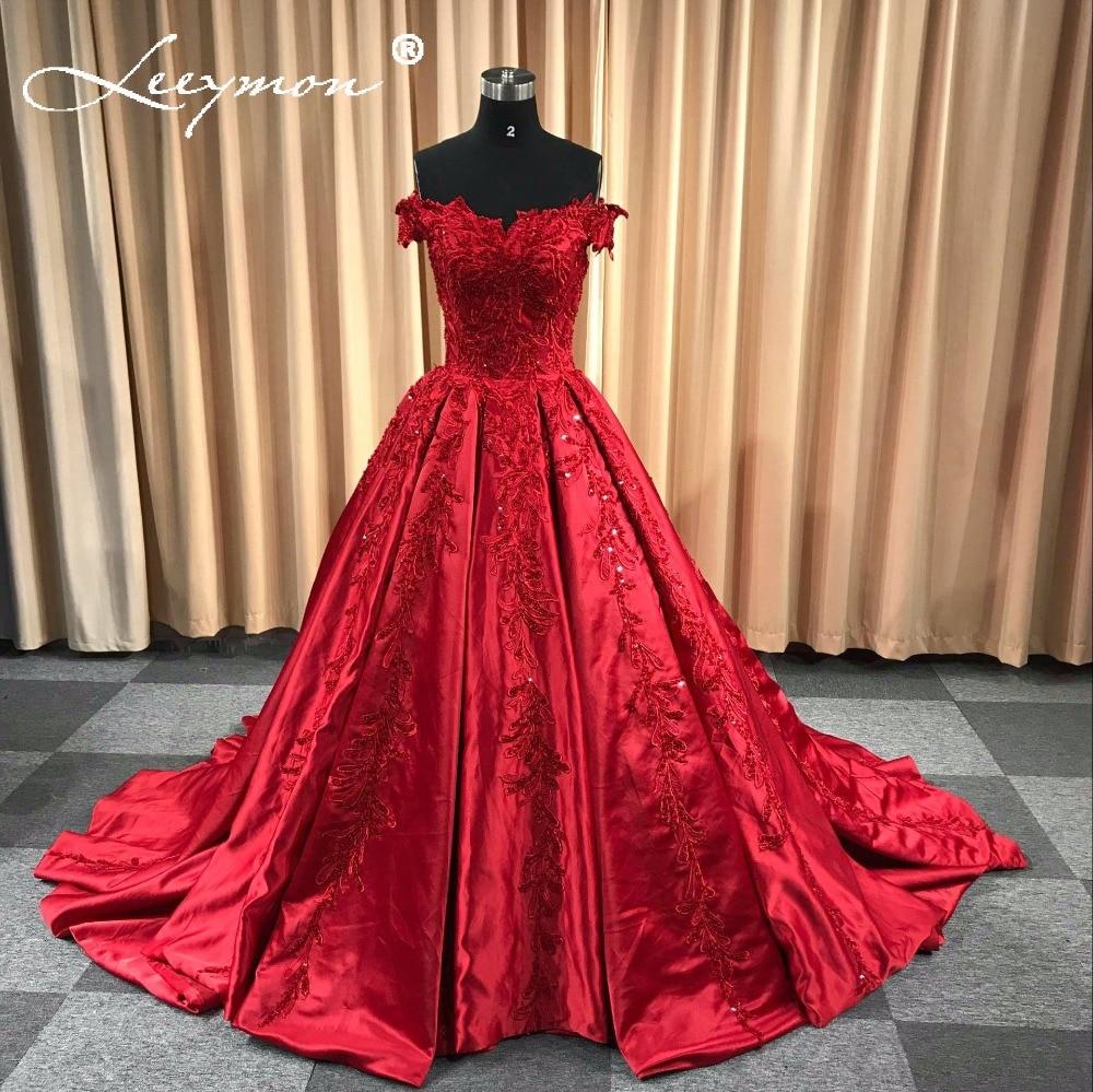 Rode satijnen avondjurk 2018 lange applique kralen vrouwen avond - Jurken voor bijzondere gelegenheden - Foto 1