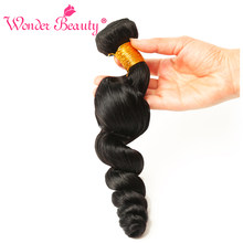 Wonder Beauty Hair Peruvian Loose Wave Remy Hair 100% Human Hair Weave Bundles 100g/Piece 1 Piece Only Natural Color Hair(China)