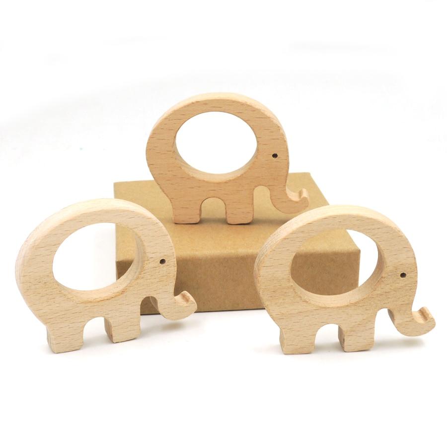10pcs x 70mm oavslutad bok elefant trä DIY hitta bäk teether bebis - Barnomsorg - Foto 4