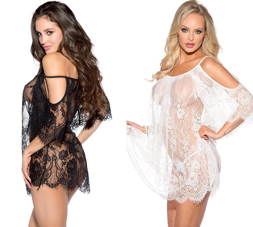 Women Black White Exotic Costumes Lace Leakage Shoulder Transparent Sexy Nightgown Underwear