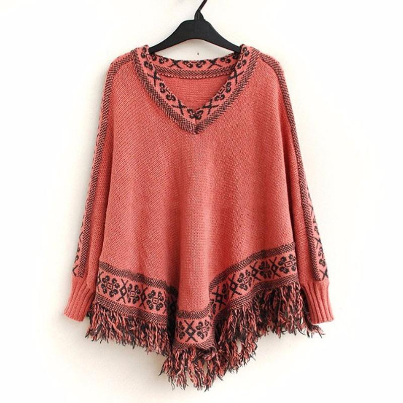 Vancol-2016-Winter-Cape-Women-Tops-Autumn-Thick-Retro-Ethnic-Totem-V-Neck-Loose-Sweater-Black (1)