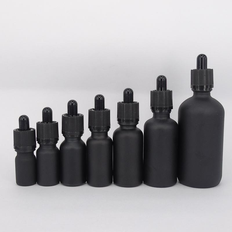 6pcs 100ml 50ml 30ml 20ml 15ml 10ml 5ml Matt Black Glass Essential Oil Dropper Bottle Essential Drop Vials Cosmetic Containers