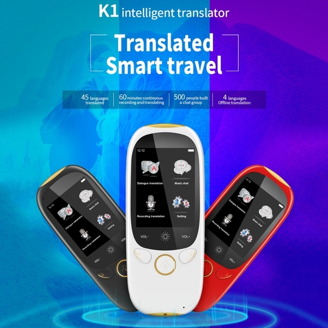 Boeleo K1 2.0 Inch Screen Voice Translator Smart Business Travel AI Translation Machine 512MB+4GB 45 Languages Translator