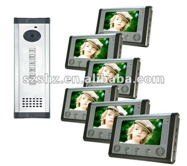 "Free shipping 7"" video door phone apartment building intercom system"