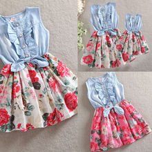 Fashion Family Matching Dress New Daughter Mother Sleeveless Cotton Floral Sundress Casual Dresses