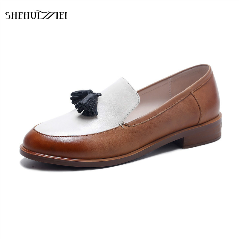 SHEHUIMEI Genuine Leather Flat Oxford Shoes Woman Flats 2018 Fashion Tassel British Style Oxford Shoes Women Flat Heel Shoes genuine leather women oxford shoes woman flats 2017 fashion british style fretwork vintage brogue oxfords women shoes moccasins