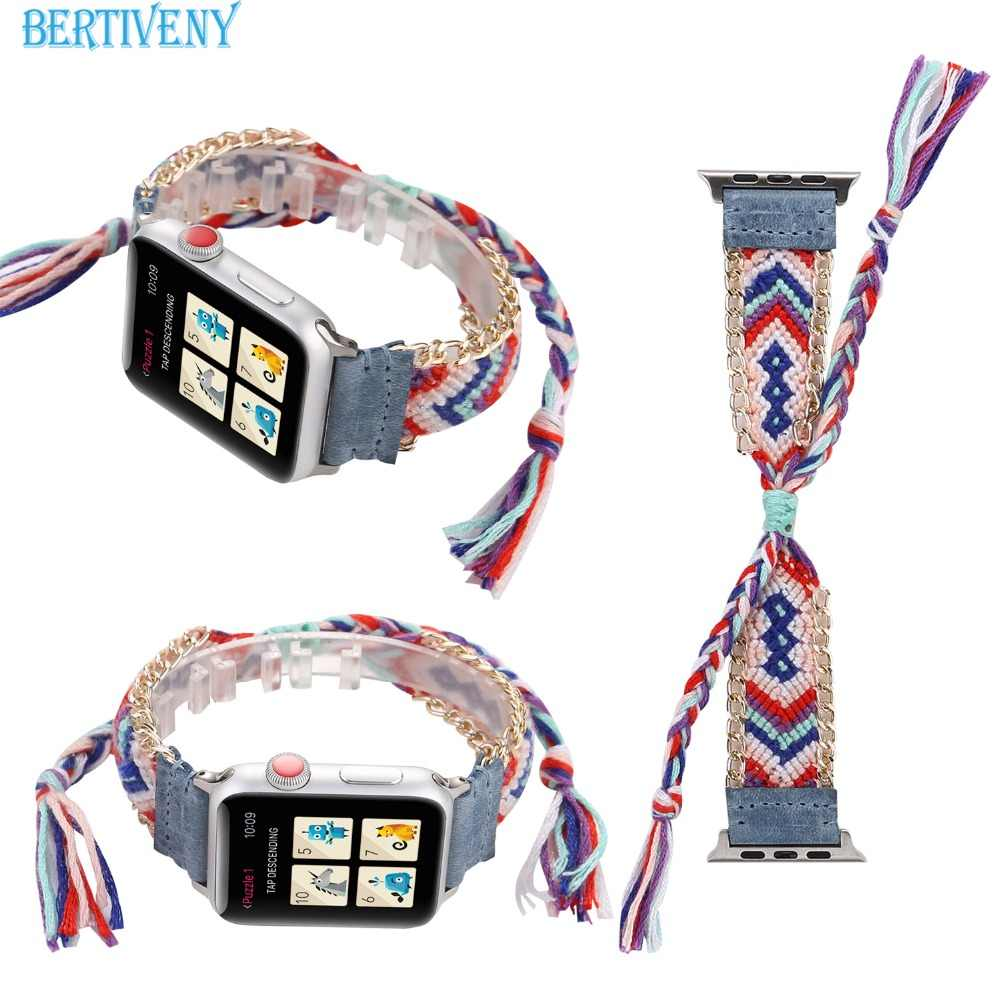Colorful Nylon Woven band for Apple Watch 38mm/42mm Women's Creative Strap for iwatch Wristband