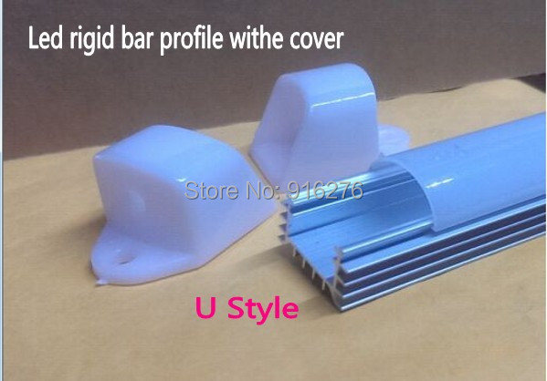 100Sets U shell LED aluminum profile channel for 2835 5050 5630 8520 7020 4014 strip Bar Light jewelry counter+ Cover