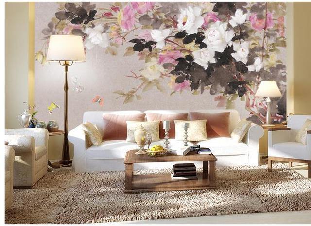 Customize Hand Painted Fl Wallpaper Wall Sticker Wallpapers Mural Non Wvoen Factory Direct20171929