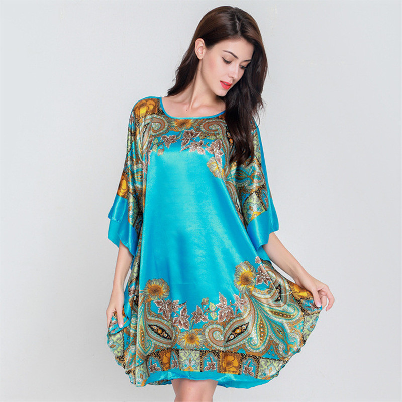 Plus Size Blue Home Dress Chinese Women Robe Floral Nightdress Sexy Rayon Sleepwear Loose Print Negligee Short Kaftan