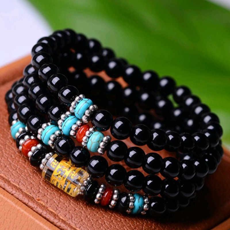 Природный Оникс браслет черный Будда Оникс Камень 108 браслет Женские аксессуары ручной работы, тигровый глаз многоповоротный браслет для женщин