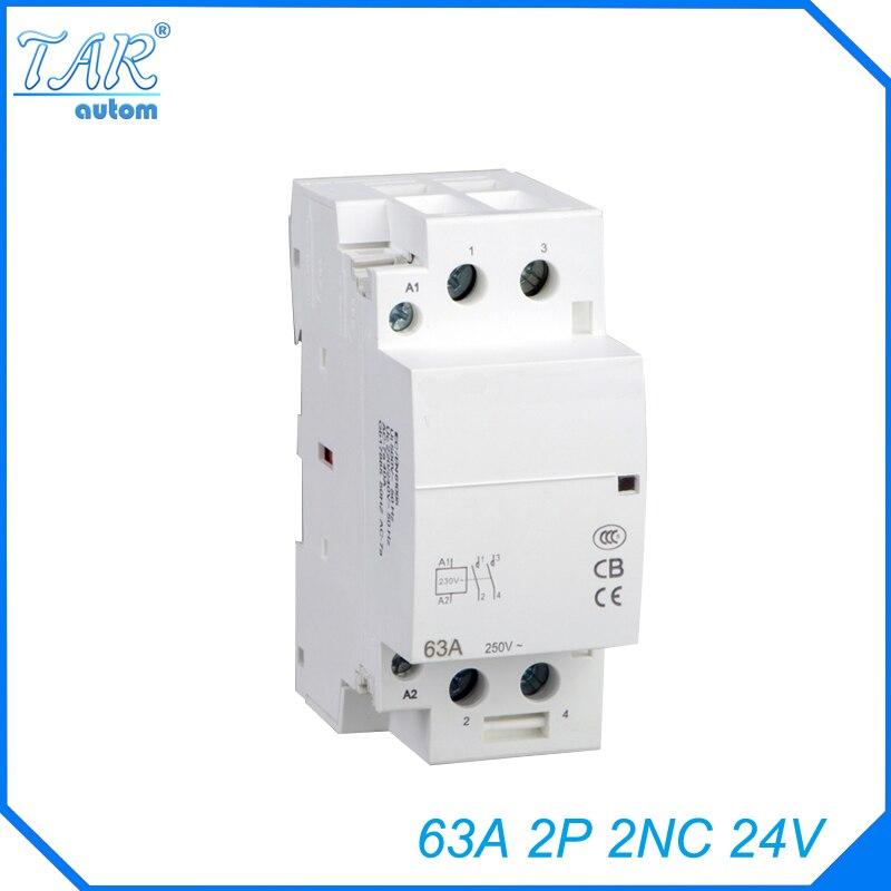 Trilho Din AC casa contator 63A 2NC 24V Casa contato módulo Trilho Din contator Modular