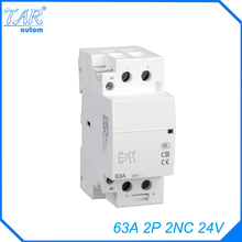 Din rail household AC contactor  63A 2P 2NC 24V Household contact module Din Rail Modular contactor din rail cutter r210eb din rail cutting tool easy cut with measure gauge cut with ruler