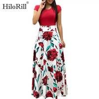 Vestido largo de Verano para mujer Vestidos de fiesta de manga corta de retazos Casual de playa Bohemia con estampado Floral Vestidos Verano 2019