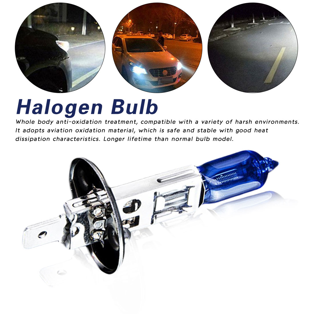 Tonewan 2 Pcs Bulb H1 12V 100W 5500-6000k 800Lm Car Head Light Dark Blue Quartz Glass Auto Light Lamp