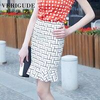 Veri Gude 2015 Summer Style Women Mermaid Skirt Slim Skirt Knee Length Plaid Pattern