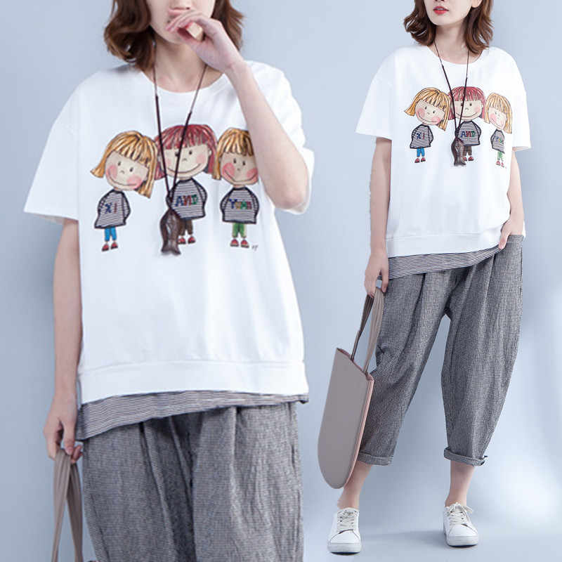 Plus Size 2018 Summer Women Fashion Cute Gril Print Striped Tops Tee Ladies  Female Big Short 8dff92196328