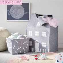 INS wind children room house storage bag wool felt storage bag home decoration photo props children's toys(China)