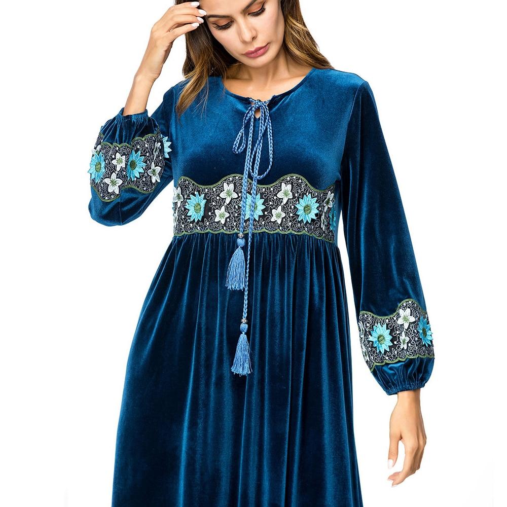 cou Lâche Broderie Maxi Mode Automne orient Ramadan Longues Manches Femmes Parti De Euro Longue O Musulman Robe À Moyen Photo Rétro w8pS47