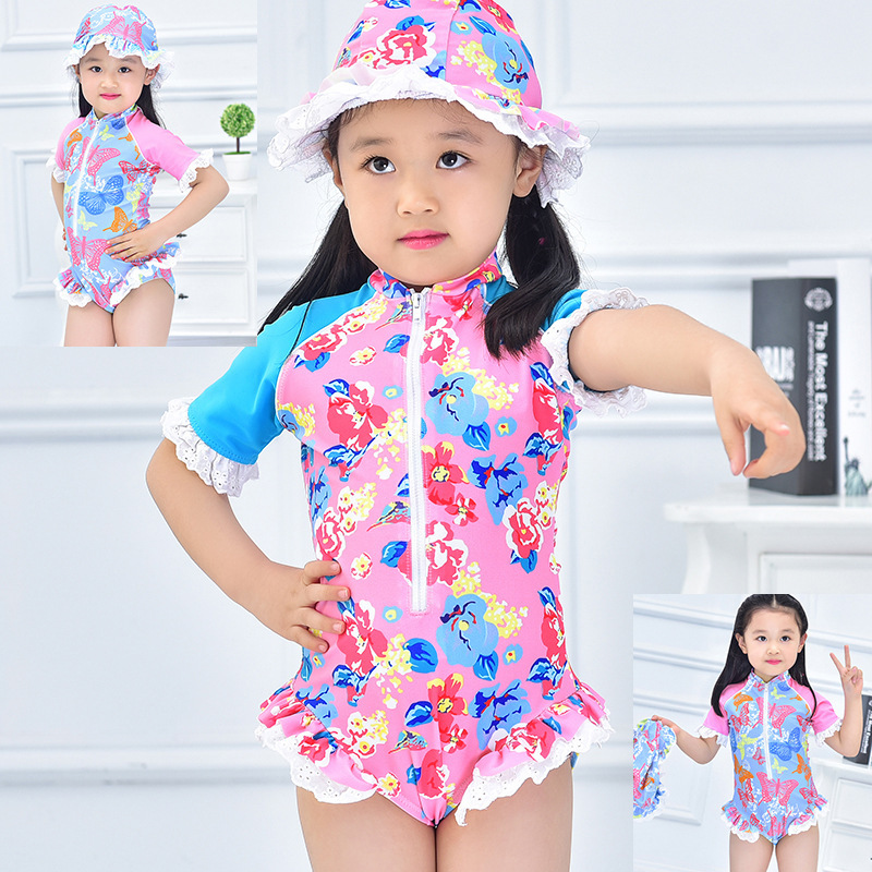 2017 Zipper Cute Girls Swimwear Children One Piece ...