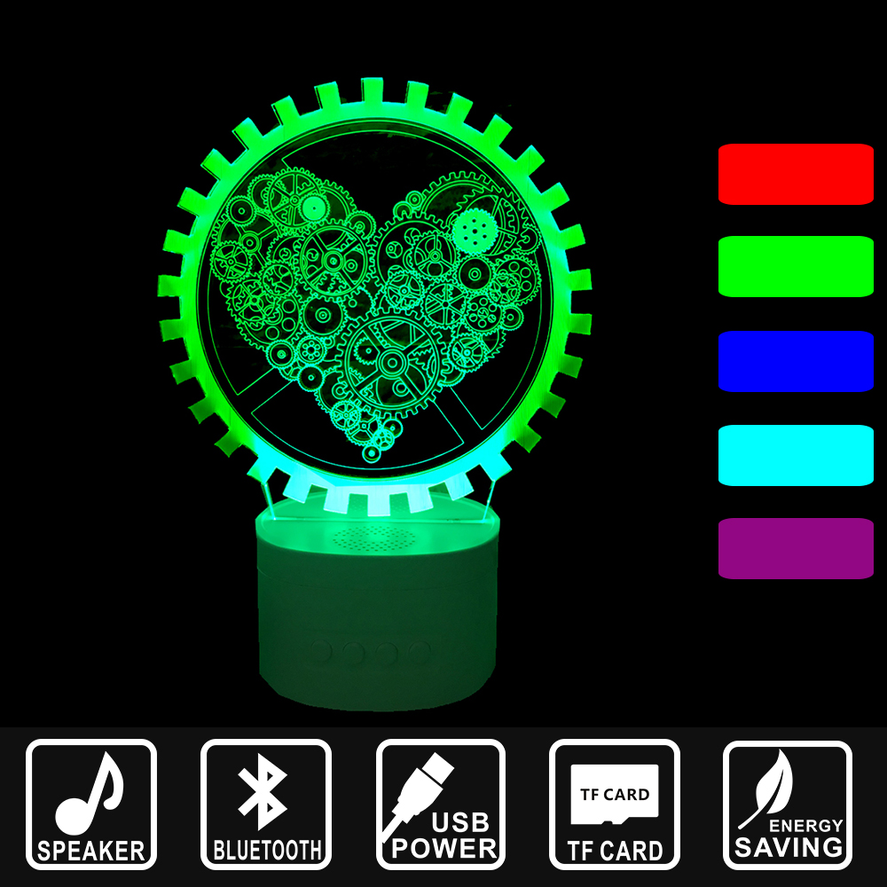 Bluetooth Speaker color change along with Music Nightlight 3D lamp light USB LED Mechanical heart Home decoration Lamp IY803616 ночники beaba переносной светильник ночник usb pixie nightlight soft