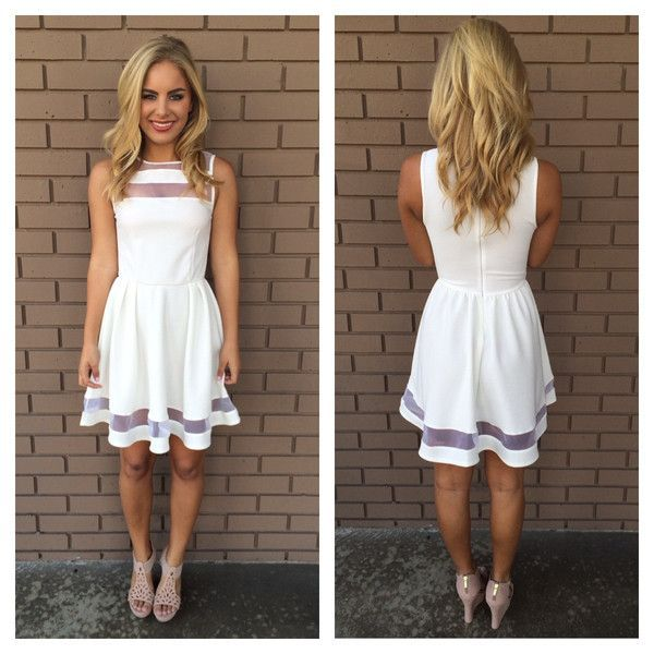 Simple Homecoming Dresses White Black Sleeveless Knee Length ...