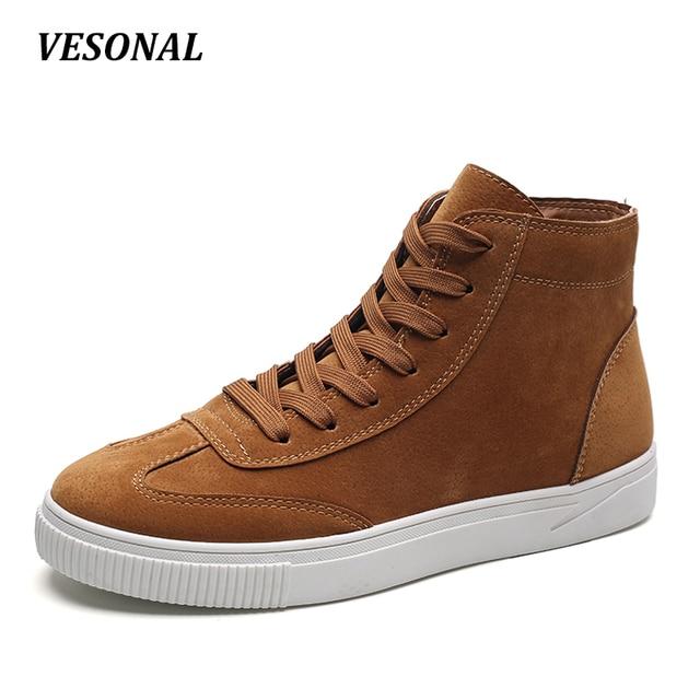 de6edc0e1bf VESONAL Marca Otoño hombres zapatos casuales de Cuero Genuino High Top  Calzado Masculino Moda Hightop Zapatos