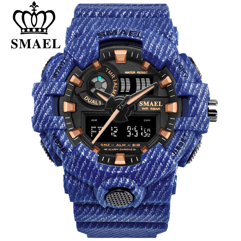 Reloj deportivo vaquero de lujo de marca SMAEL nuevo reloj militar para hombre reloj de escritura Digital de ejército analógico 8001 reloj impermeable para hombre