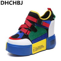 Patchwork Color Sneakers Shoes Woman Wedge Buckle Slip On Female Casual Dad Shoes Platform Comfortable Lady Sneakers