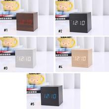 Multicolor Sound Control Wooden Wood Square LED Alarm Clock Desktop Ta