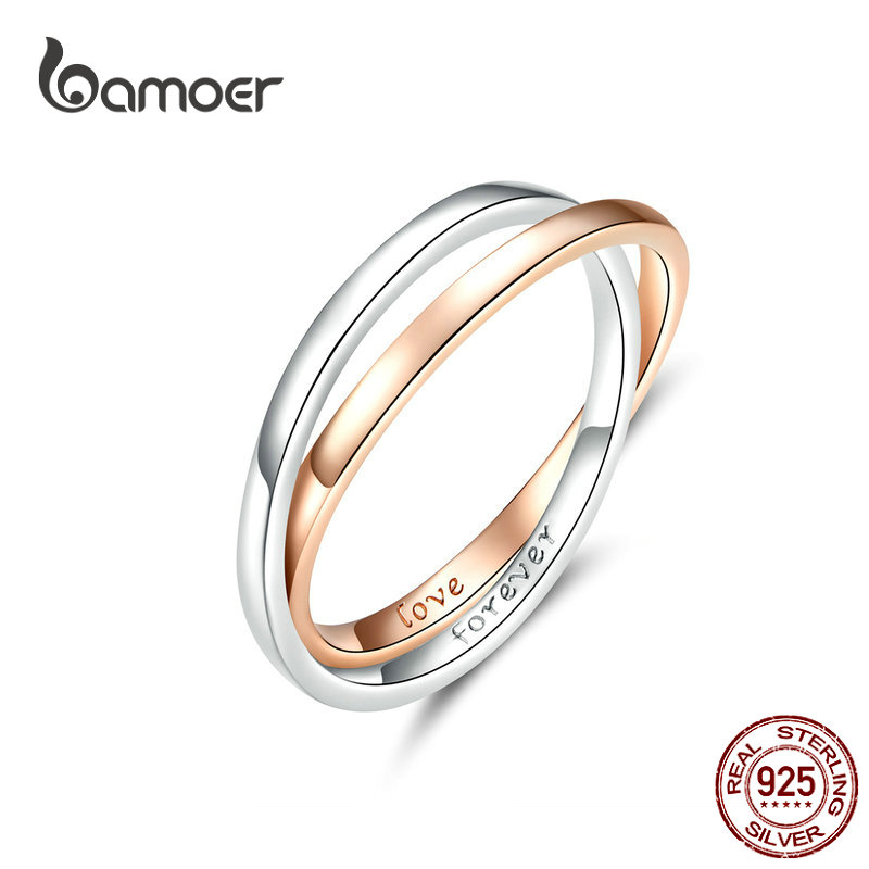 bamoer Biocolor Double Finger Rings 925 Silver Couple Engagement Ring for Women and Men Rose Gold Color Jewelry BSR053