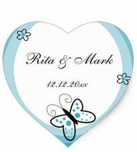 1.5inch Butterfly Heart Wedding Favor Sticker Blue Heart Sticker